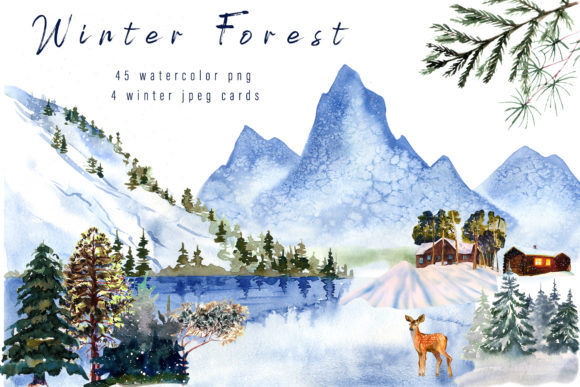 Winter Landscape Clipart Watercolor Graphic