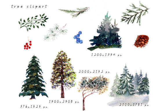 Winter Landscape Clipart Watercolor Graphic Download