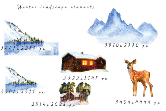 Winter Landscape Clipart Watercolor Graphic Item