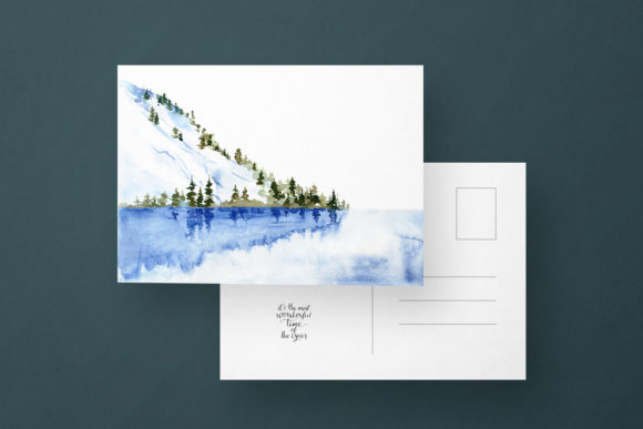 Winter Landscape Clipart Watercolor Graphic Preview