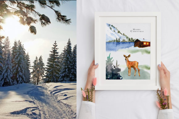 Winter Landscape Clipart Watercolor Graphic Image