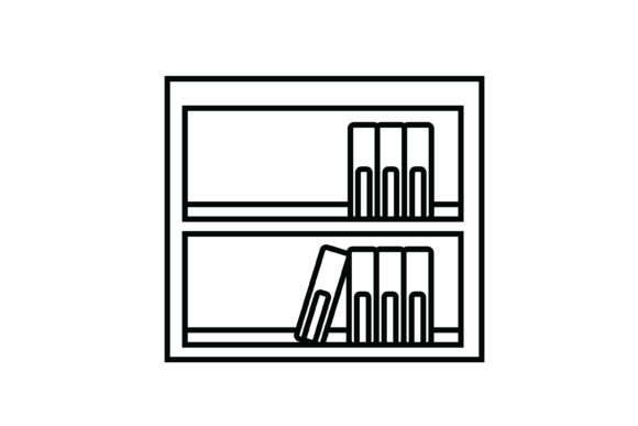 Print on Demand: Wooden Bookshelf out Line Icon Graphic Icons By meandmydate