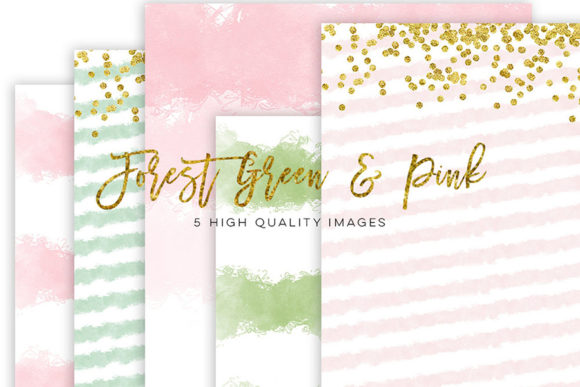 Print on Demand: Forest Green and Pink Watercolor Clipart Graphic Illustrations By SunflowerLove