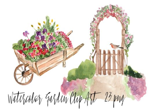 23 Watercolor Garden Clip Art Graphic Illustrations By tatibordiu