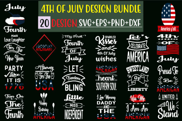 4th of July Design Bundle Graphic Print Templates By creative store.net