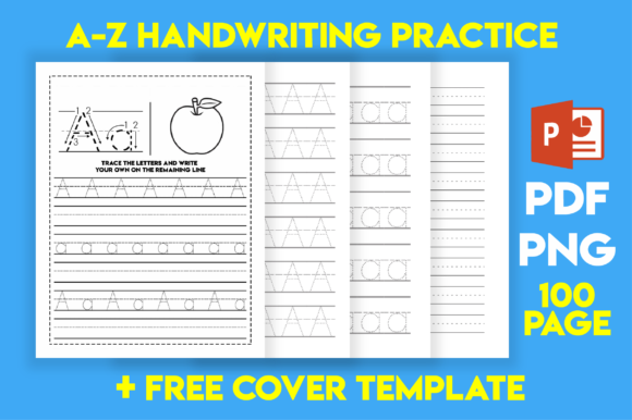 Print on Demand: A-Z-Handwriting-Practice Pages for Kids Graphic KDP Interiors By MK DESIGN