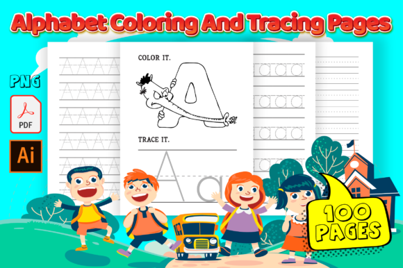 Print on Demand: Animal Alphabet Coloring and Tracing Graphic KDP Interiors By MK DESIGN