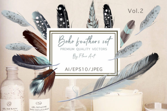 Bohemian Mood Vector Feathers Set Graphic Illustrations By fleurartmariia