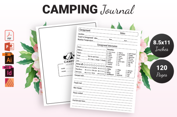 Print on Demand: Camping Journal - KDP Interior Graphic KDP Interiors By KDP Ninja