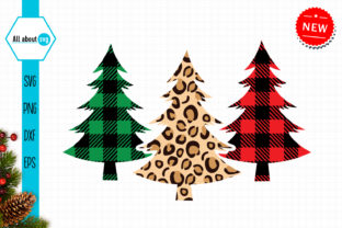Christmas Buffalo Plaid and Leopard Tree Graphic Crafts By All About Svg