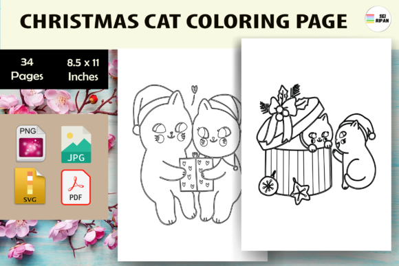 Print on Demand: Christmas Cat Coloring Page for Kids-KDP Graphic Coloring Pages & Books Kids By Sei Ripan