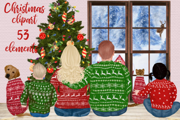 Christmas Family Clipart Plus Size Gráfico Illustrations Por LeCoqDesign