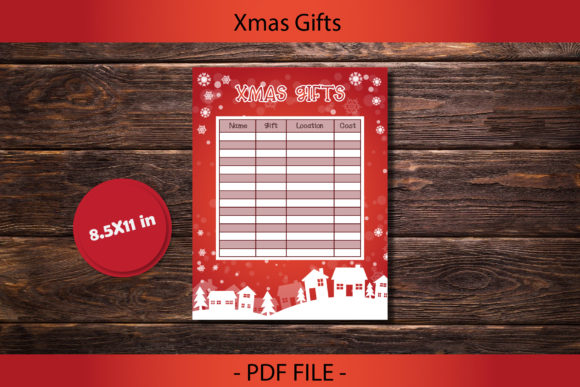 Print on Demand: Christmas Gift Idea List for Printable Graphic Print Templates By IsaraDesign