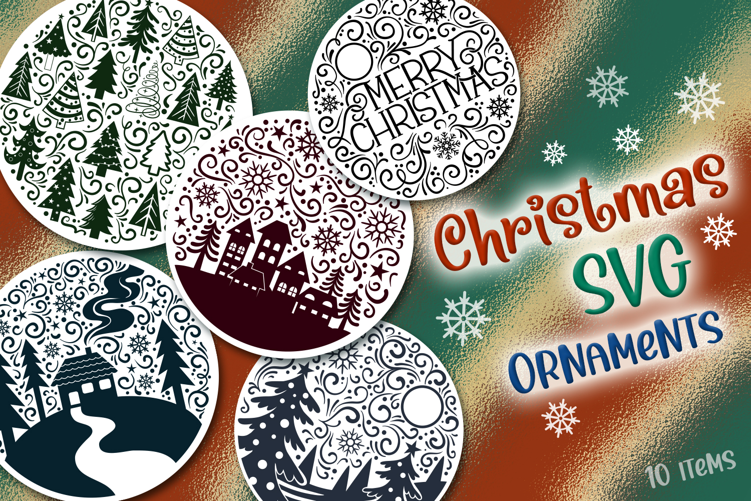 Christmas SVG Ornaments – 10 Items SVG File