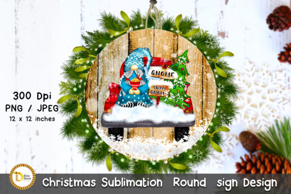 Print on Demand: Christmas Sublimation Round Sign & Gnome Gráfico Crafts Por dina.store4art