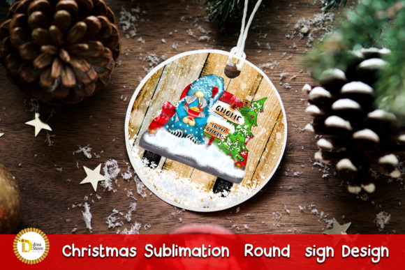 Christmas Sublimation Round Sign & Gnome Graphic Download