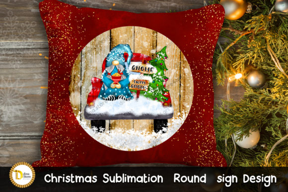 Christmas Sublimation Round Sign & Gnome Graphic Item