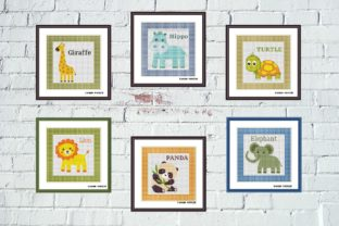 Print on Demand: Cute Animals Cross Stitch Set of 6 Pcs Graphic Cross Stitch Patterns By Tango Stitch