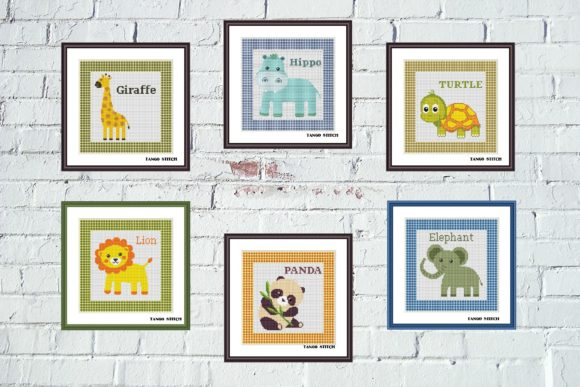 Cute Animals Cross Stitch Set of 6 Pcs Graphic Cross Stitch Patterns By Tango Stitch