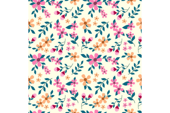 Cute Pink Hand Drawn Flower Graphic Patterns By visitindonesia