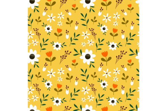Cute White Hand Drawn Flower on Yellow Graphic Patterns By visitindonesia