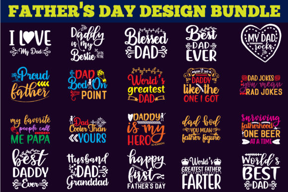 Father's Day Design Bundle Graphic Print Templates By creative store.net