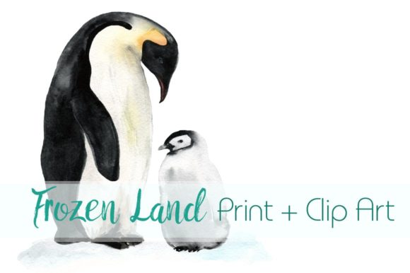 Frozen Land Watercolor Print & Clip Art Graphic Illustrations By tatibordiu