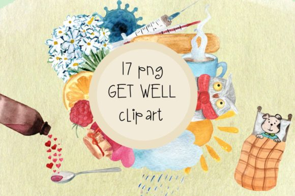 Get Well Watercolor Clip Art Graphic Illustrations By tatibordiu