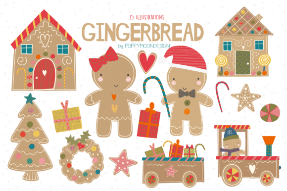 Print on Demand: Gingerbread Clipart Set Graphic Illustrations By poppymoondesign