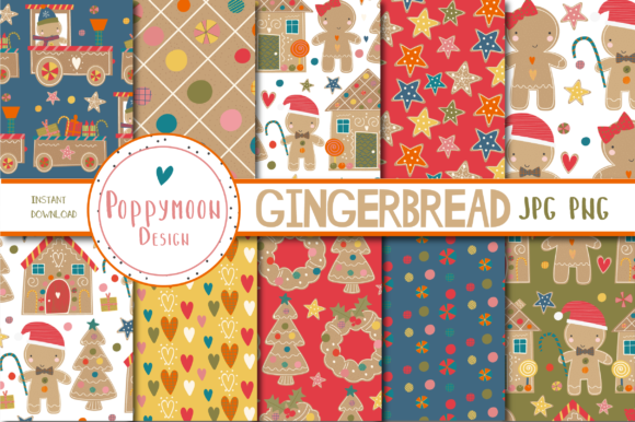 Print on Demand: Gingerbread Paper Set Graphic Patterns By poppymoondesign