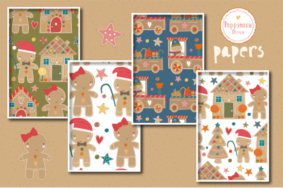 Gingerbread Paper Set Graphic Download