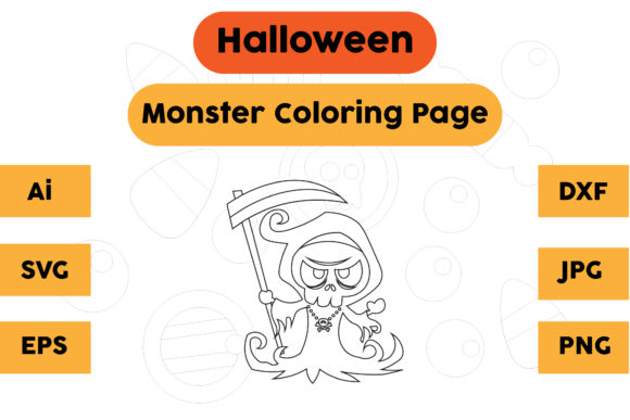 Halloween Coloring Page - Monster 01 Graphic Coloring Pages & Books Kids By isalsemarang