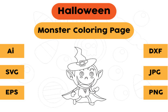 Halloween Coloring Page - Monster 04 Graphic Coloring Pages & Books Kids By isalsemarang