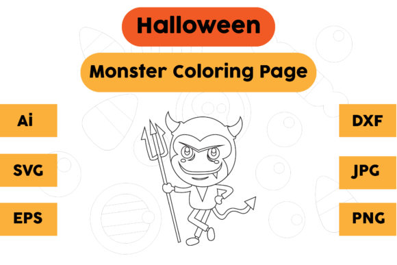 Halloween Coloring Page - Monster 06 Graphic Coloring Pages & Books Kids By isalsemarang