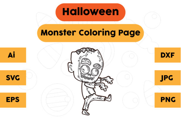 Halloween Coloring Page - Monster 11 Graphic Coloring Pages & Books Kids By isalsemarang
