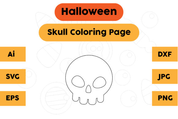 Halloween Coloring Page - Skull 06 Graphic Coloring Pages & Books Kids By isalsemarang