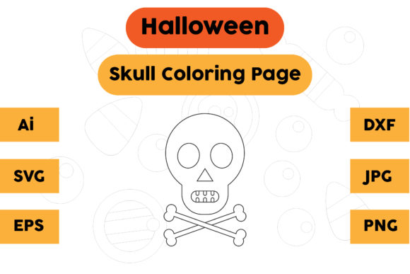 Halloween Coloring Page - Skull 07 Graphic Coloring Pages & Books Kids By isalsemarang