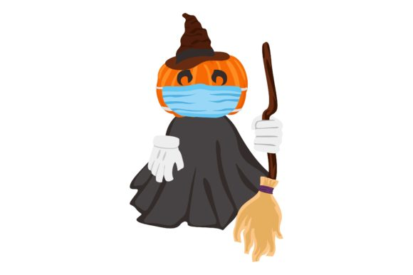 Print on Demand: Halloween Pumpkin Witch Wearing Mask Graphic Crafts By Arief Sapta Adjie