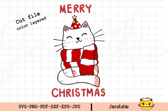 Merry Christmas Cute Cat Clip Art Svg Graphic Illustrations By Janatshie