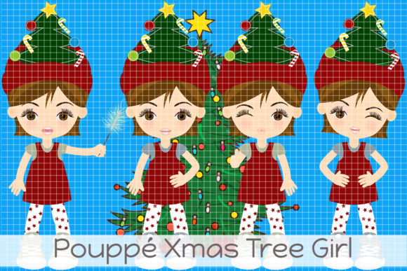 Pouppé Xmas Tree Girl Graphic Illustrations By Dolls To Go