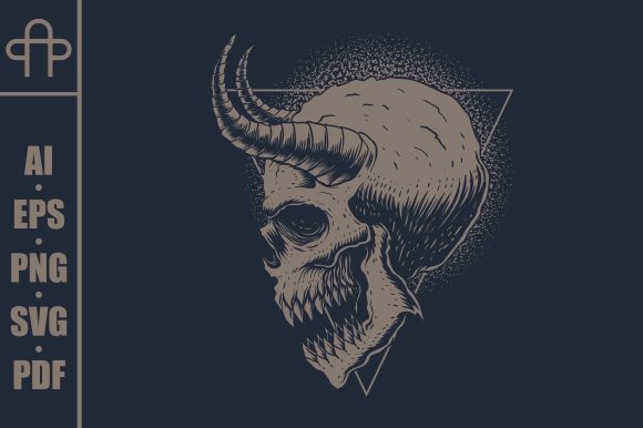 Print on Demand: Skull Monster Horned Vector Illustration Graphic Illustrations By Andypp