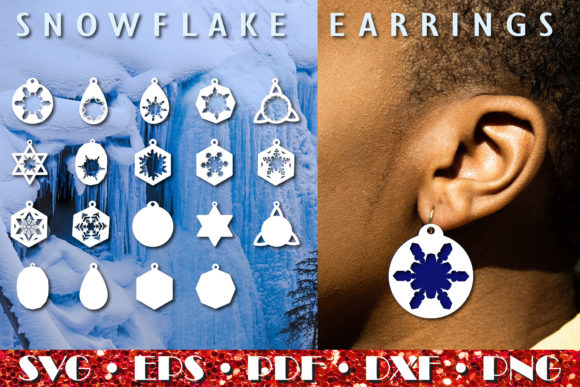 Print on Demand: Snowflake Earrings, Christmas Ornaments Graphic Crafts By NatashaPrando