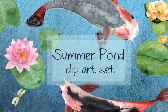 Summer Pond - Watercolor Clip Art Graphic Illustrations By tatibordiu