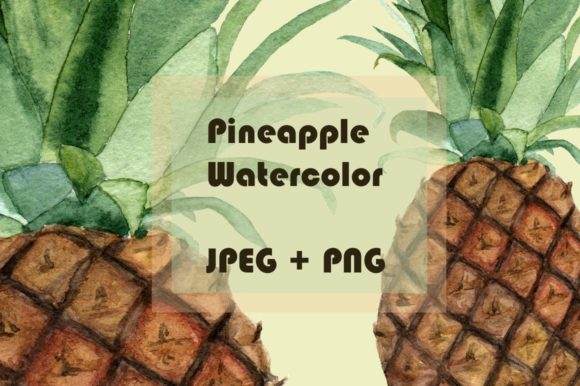 Watercolor Pineapple Clipart & Print Graphic Illustrations By tatibordiu