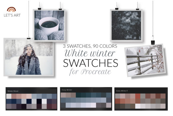Winter Procreate Swatches, Color Palette Graphic Add-ons By cyrilliclettering
