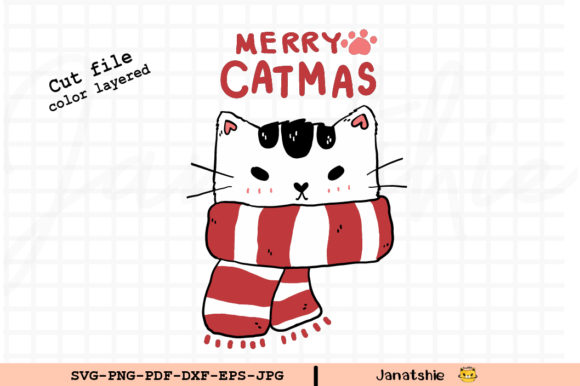 Cat Funny Face Merry Christmas Clip Art Graphic Illustrations By Janatshie