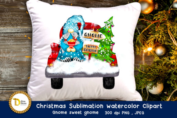 Print on Demand: Christmas Sublimation Watercolor Clipart Gráfico Crafts Por dina.store4art