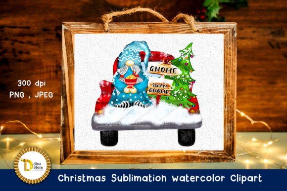 Christmas Sublimation Watercolor Clipart Graphic Download
