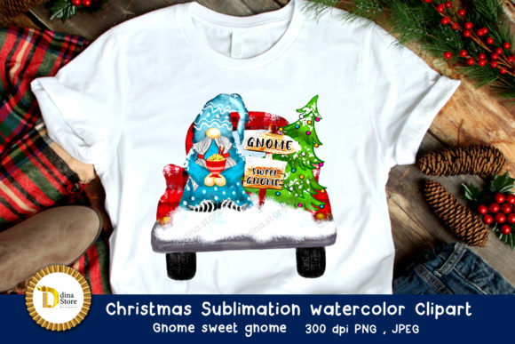 Christmas Sublimation Watercolor Clipart Graphic Item