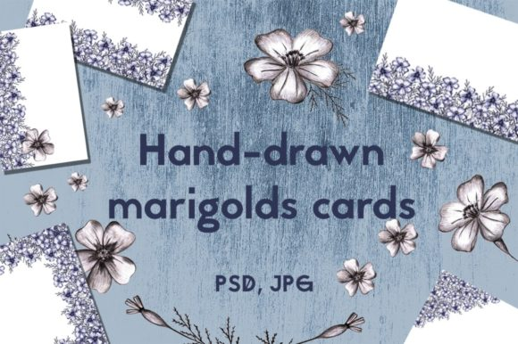 Cards with Hand-drawn Marigolds Graphic Illustrations By rina.dozornaya